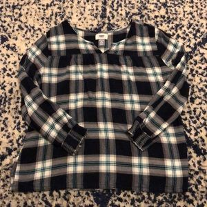 Old Navy Blue Plaid Blouse